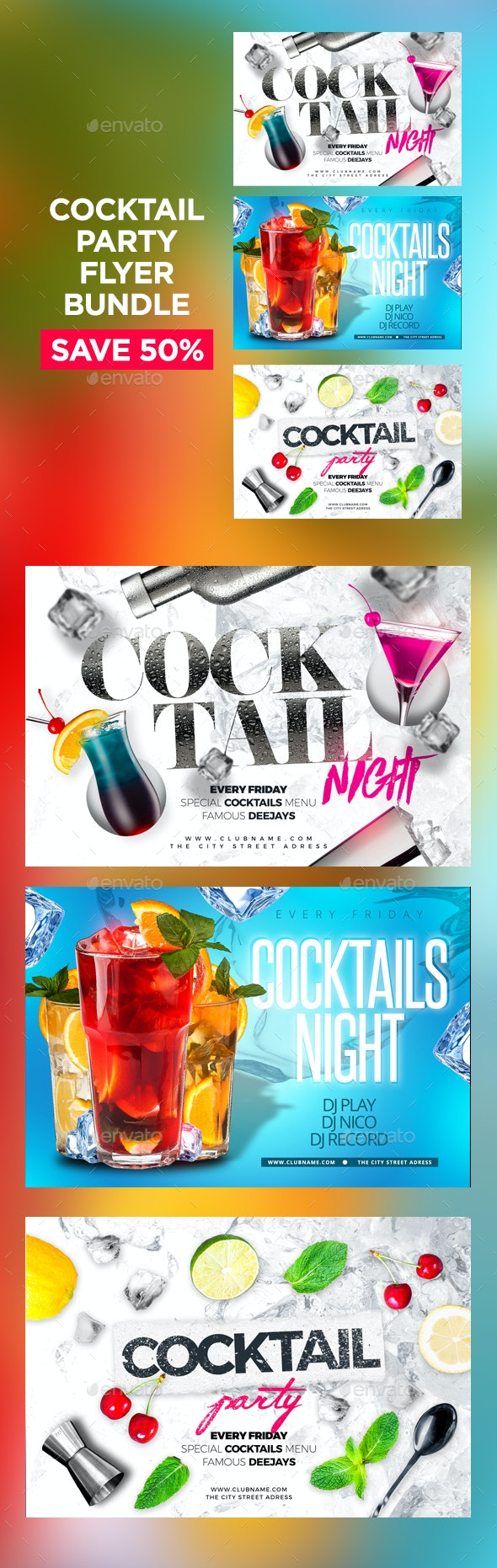 Cocktail Party Flyers Bundle - Clubs & Parties Events