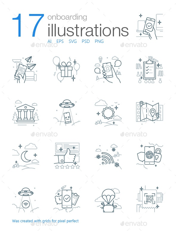 Onboarding Icons-Illustrations (Gray Outline)