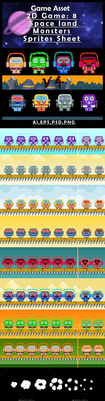 Game Asset  2D Game: 8 Space Land Monsters (V4) Sprites Sheet - Sprites Game Assets