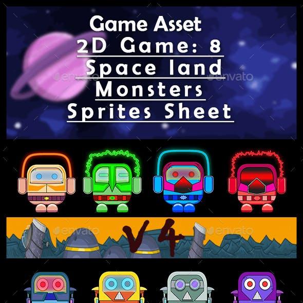 Game Asset  2D Game: 8 Space Land Monsters (V4) Sprites Sheet