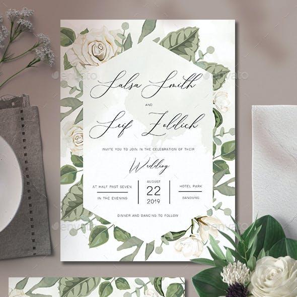 White Flower Wedding Invitation