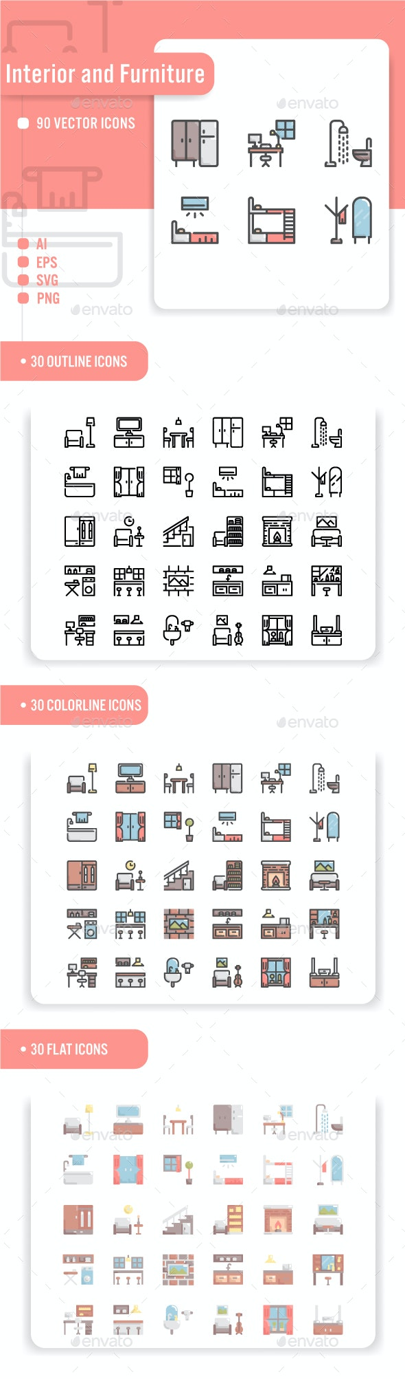 Interior and Furniture Icon Set - Miscellaneous Icons