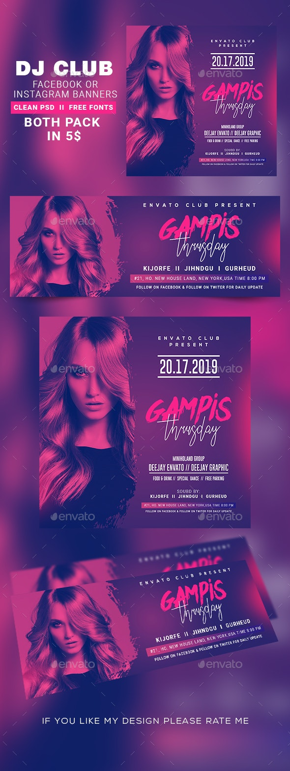 Ladies Night Instagram Banner & Facebook Cover - Banners & Ads Web Elements