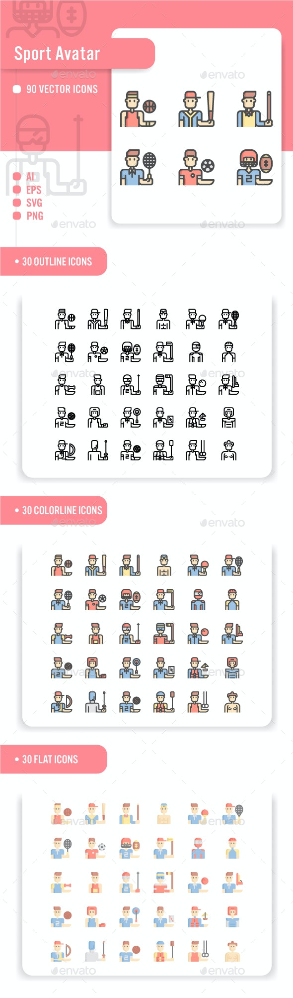 Sport Avatar Icon Set - People Characters