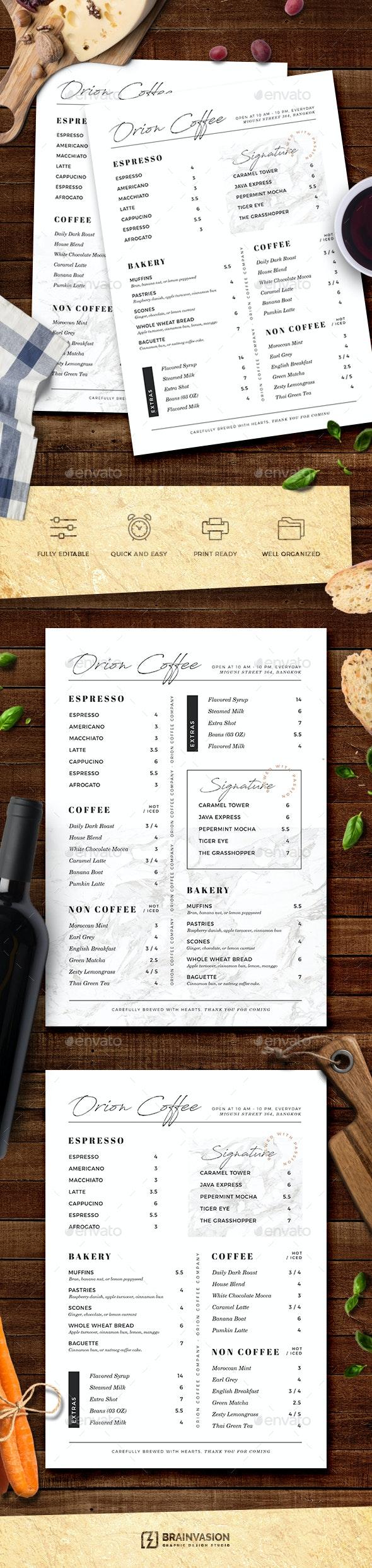 Cafe / Coffee Shop Menu Template - Food Menus Print Templates