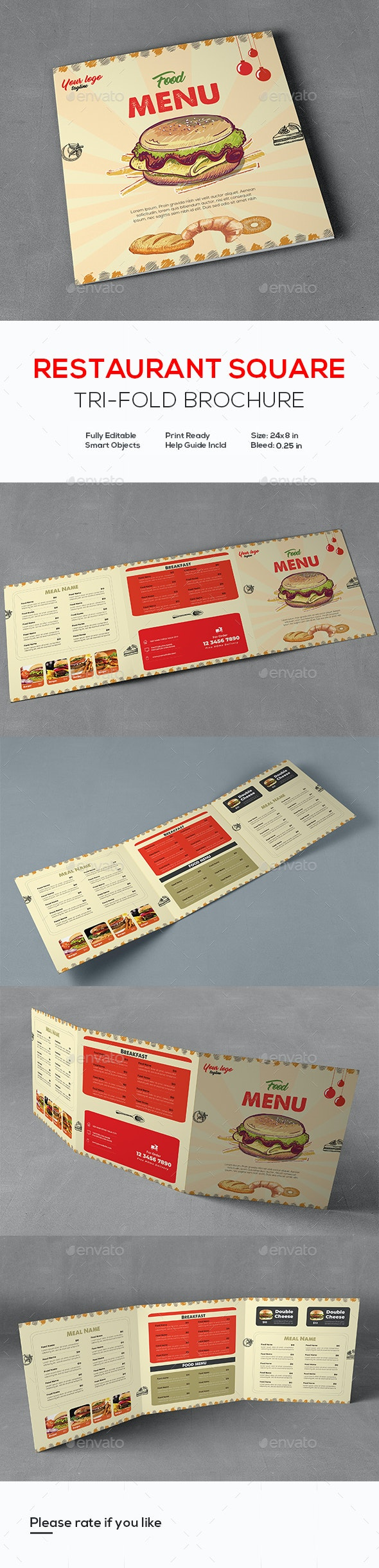 Square Food Menu Trifold Brochure - Food Menus Print Templates