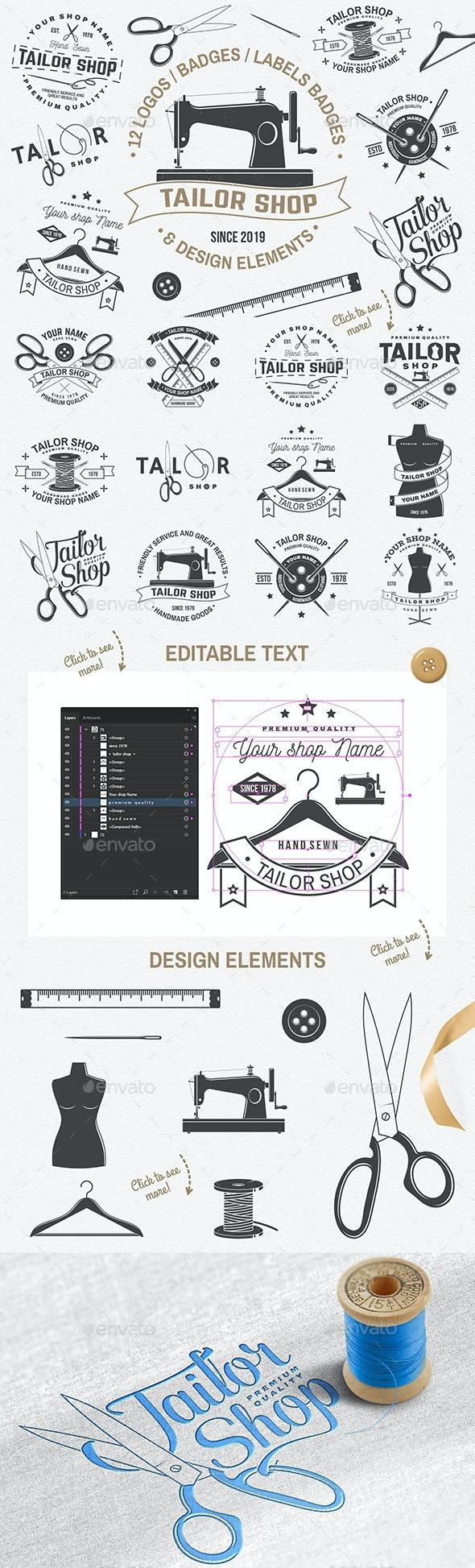 Tailor Shop Badges - Badges & Stickers Web Elements