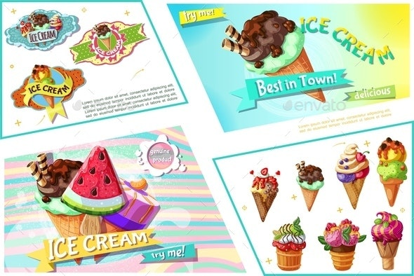 Cartoon Ice Cream Bright Composition - Food Objects