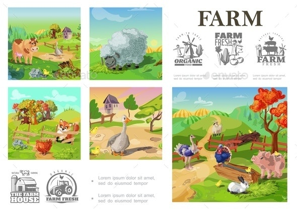 Cartoon Farm Animals Colorful Composition - Animals Characters