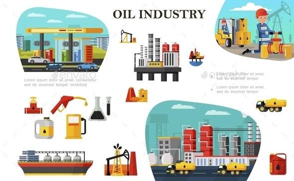 Flat Oil Industry Concept - Miscellaneous Vectors