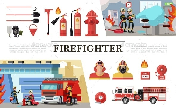 Flat Firefighting Elements Composition - Miscellaneous Vectors