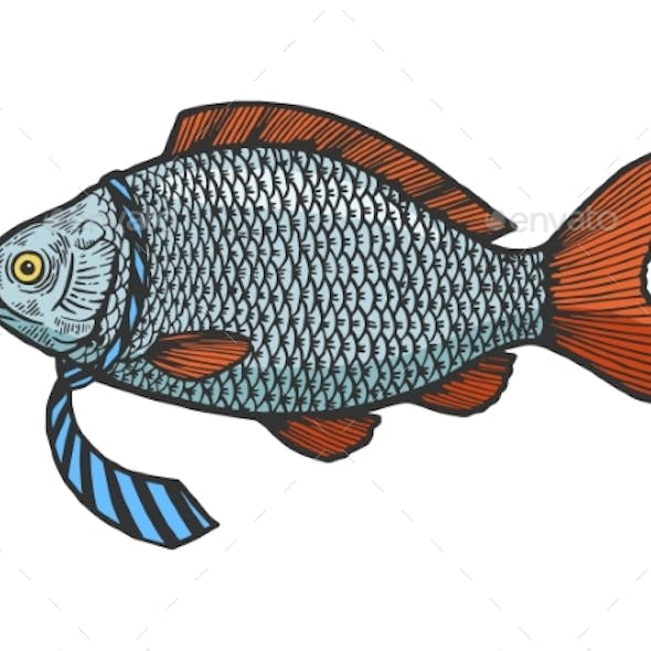 Fish in Necktie Color Sketch Engraving Vector