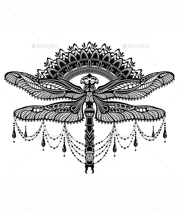 Ornate Stylized Dragonfly - Miscellaneous Vectors