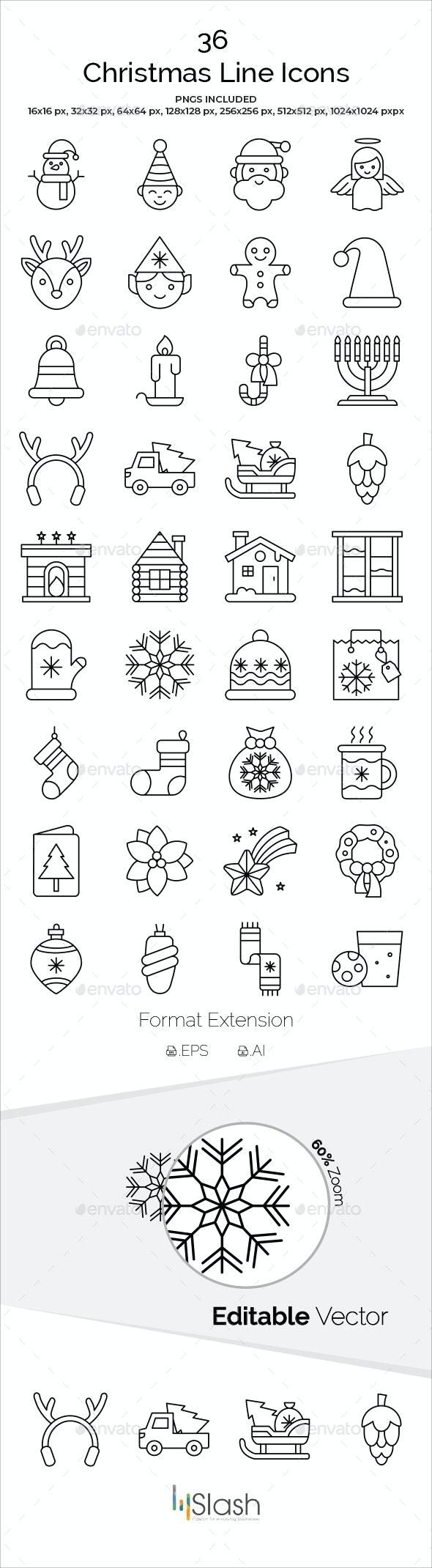 Christmas Line Icons - Christmas Seasons/Holidays