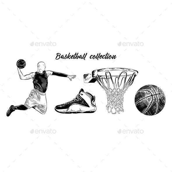 Sketch Set Of Basketball Player, Shoe, Ball and Basket - Sports/Activity Conceptual