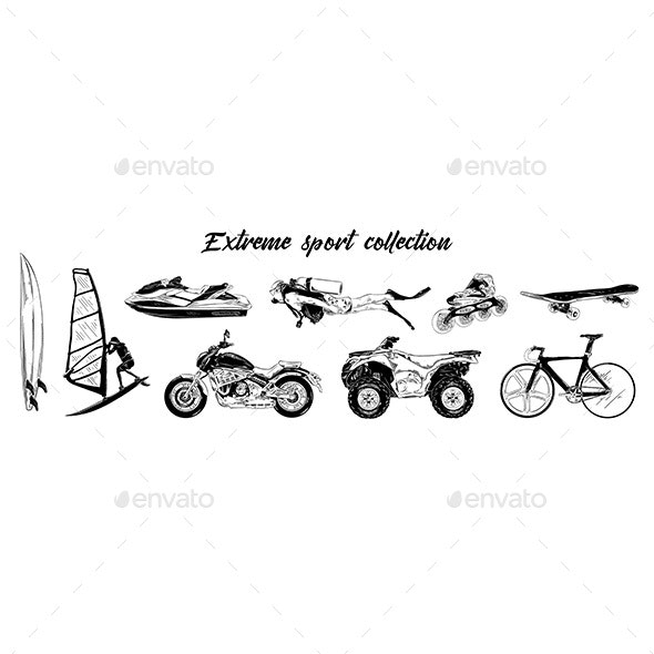 Hand Drawn Engraved Sketch Set Of Extreme Sports - Sports/Activity Conceptual