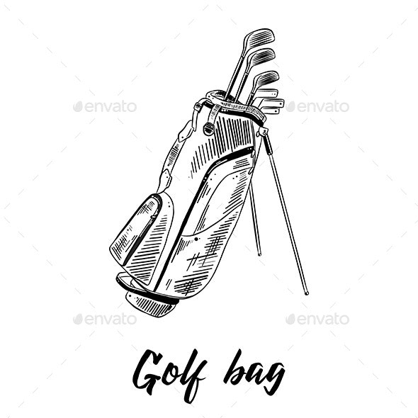 Hand Drawn Sketch of Golf Bag - Sports/Activity Conceptual