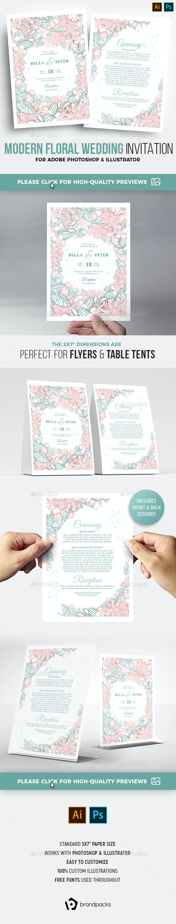 Floral Wedding Invitation / Flyer - Weddings Cards & Invites