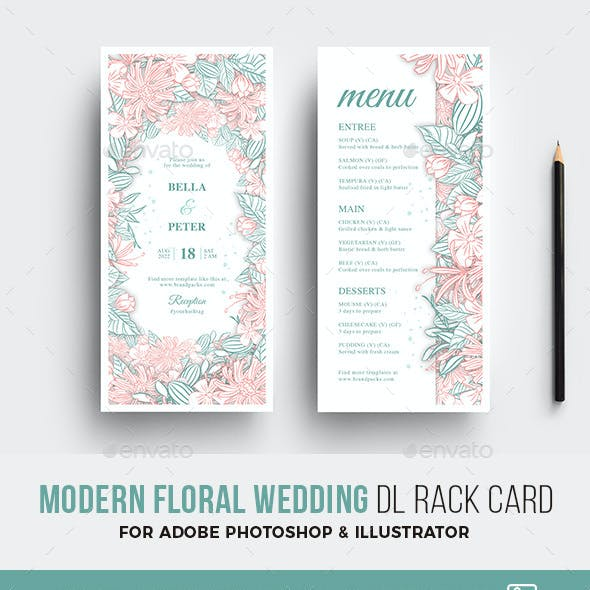 Modern Floral Wedding DL Card