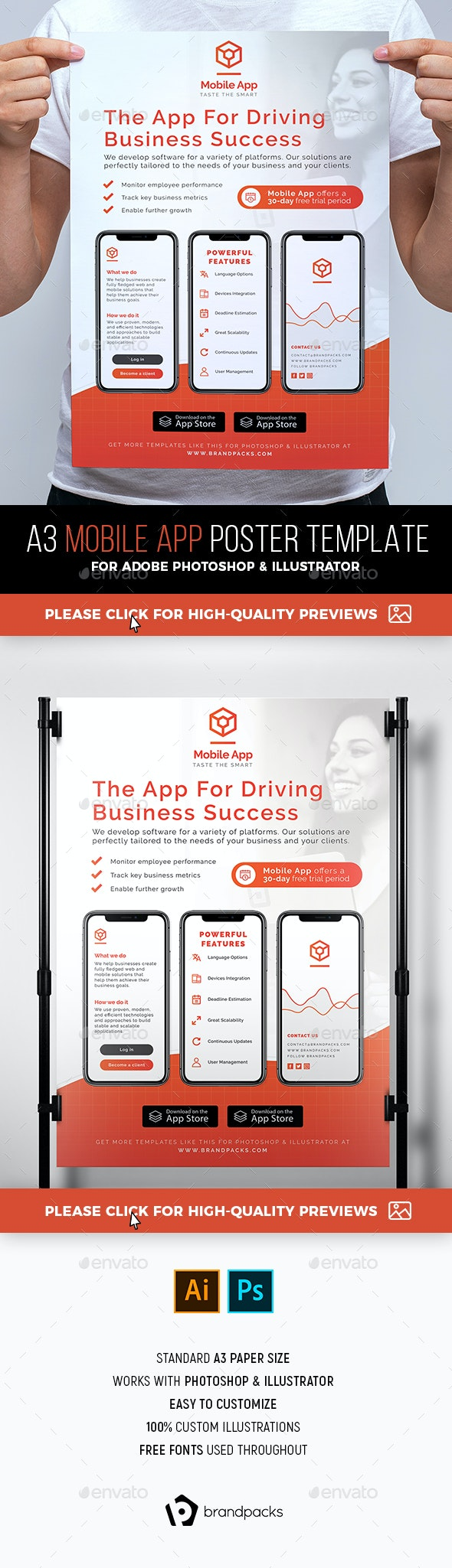 Mobile App Poster / Banner - Corporate Flyers