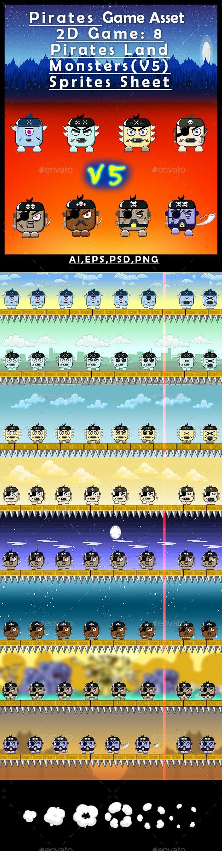 Pirates Game Asset  2D Game: 8 Pirates Land Monsters(V5) Sprites Sheet - Sprites Game Assets