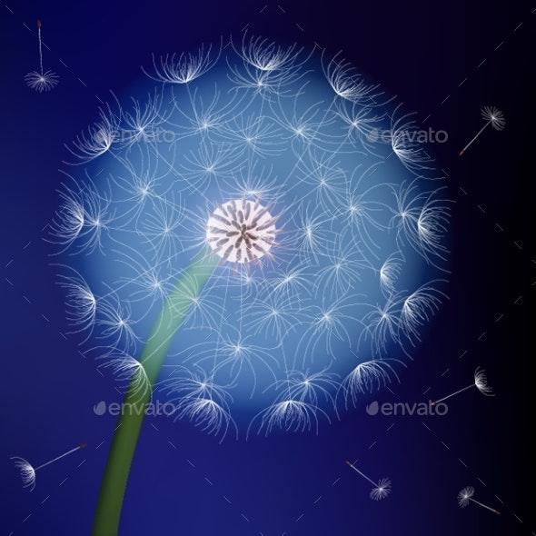 Dandelion on Blue Background Art Vector Sky - Landscapes Nature