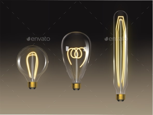 Filament Bulbs Set Retro Edison Lamps Isolated - Man-made Objects Objects