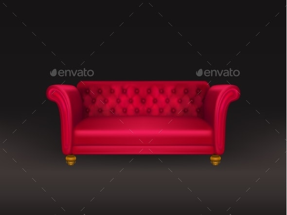 Red Couch - Man-made Objects Objects