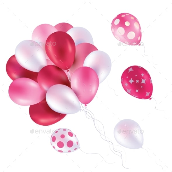 Pink Balloons Fly in the Sky Art Vector - Man-made Objects Objects
