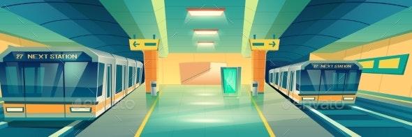 City Subway Underground Station Cartoon Vector - Miscellaneous Vectors