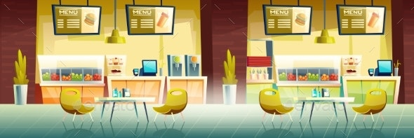 Fast Food Cafe Interior Empty Cafeteria Design - Buildings Objects