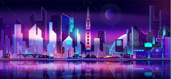 Future Metropolis Skyline Vector Urban Background - Buildings Objects