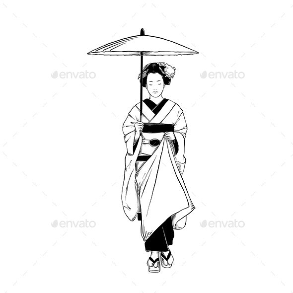 Hand Drawn Sketch Of Japanese Geisha - People Characters