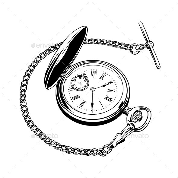 Hand Drawn Sketch of Pocket Watch - Man-made Objects Objects