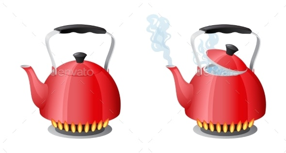 Red Kettle with Boiling Water on Kitchen Stove - Man-made Objects Objects