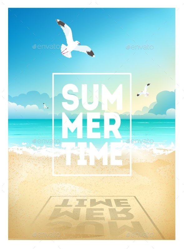Summer Beach Background with Sea Sky and Seagulls - Miscellaneous Seasons/Holidays