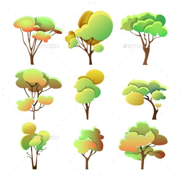 Set of Colorful Trees Different Shapes with Leaves - Flowers & Plants Nature
