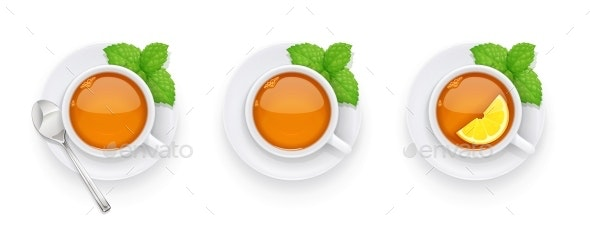 Tea Cup and Green Leaf on Plate - Food Objects