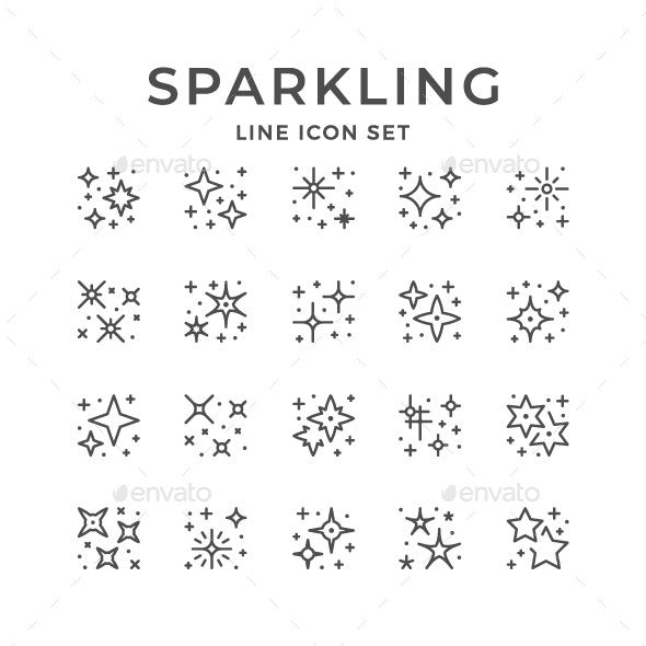Set Line Icons of Sparkling and Twinkling - Abstract Icons