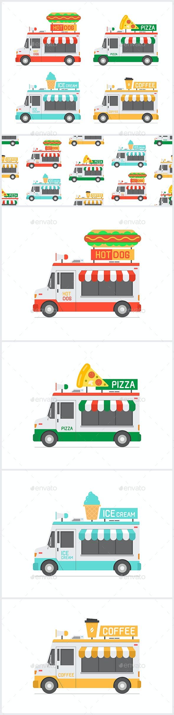 Set of Food Trucks - Food Objects