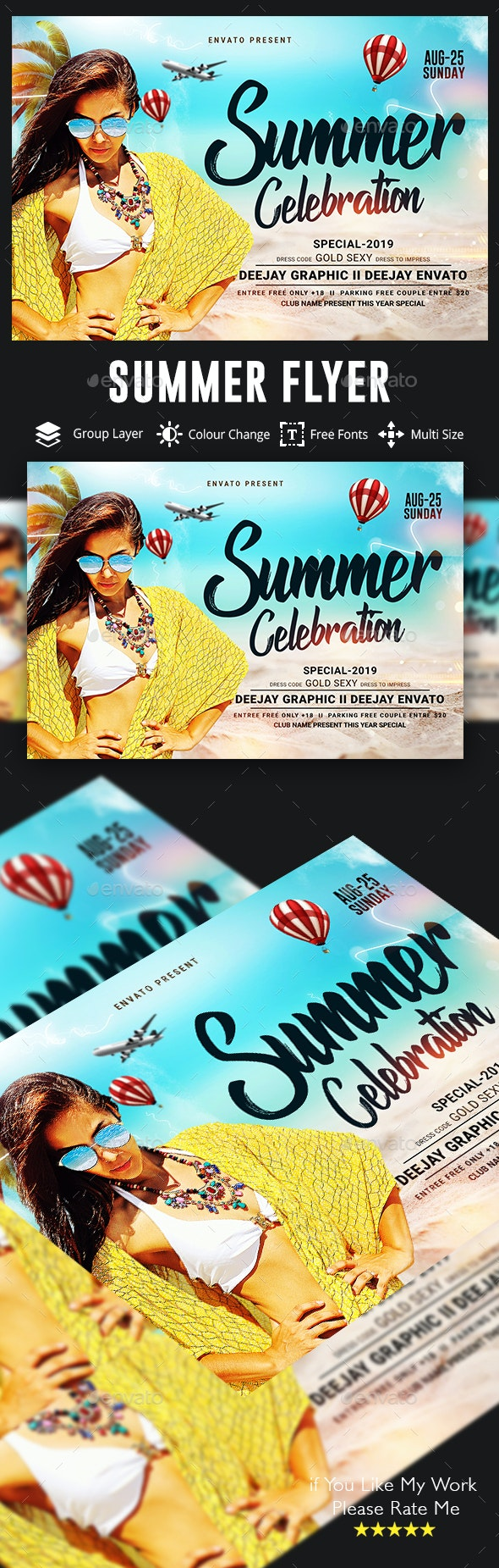 Summer Beach Celebration Party Flyer Template - Clubs & Parties Events