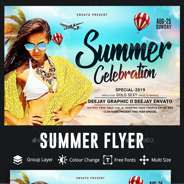 Summer Beach Celebration Party Flyer Template