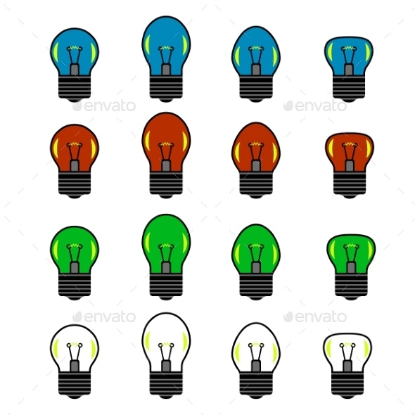 Set of Colored Bulb Isolated on White Backround - Man-made Objects Objects