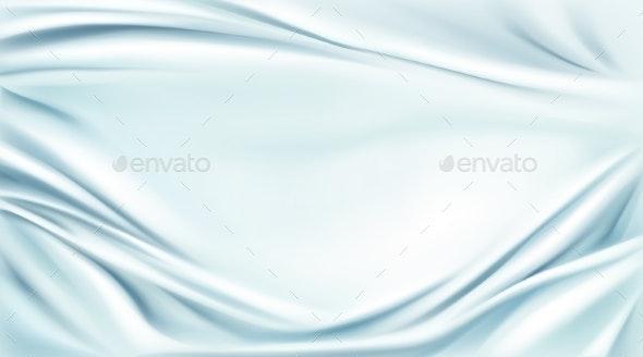 Blue Silk Draped Fabric Background - Backgrounds Decorative