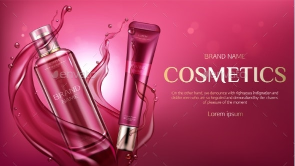 Cosmetic Bottles Mock Up Beauty Skin Care Product - Health/Medicine Conceptual
