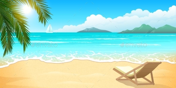 Sand Beach with Palm and Chaise Lounge - Landscapes Nature