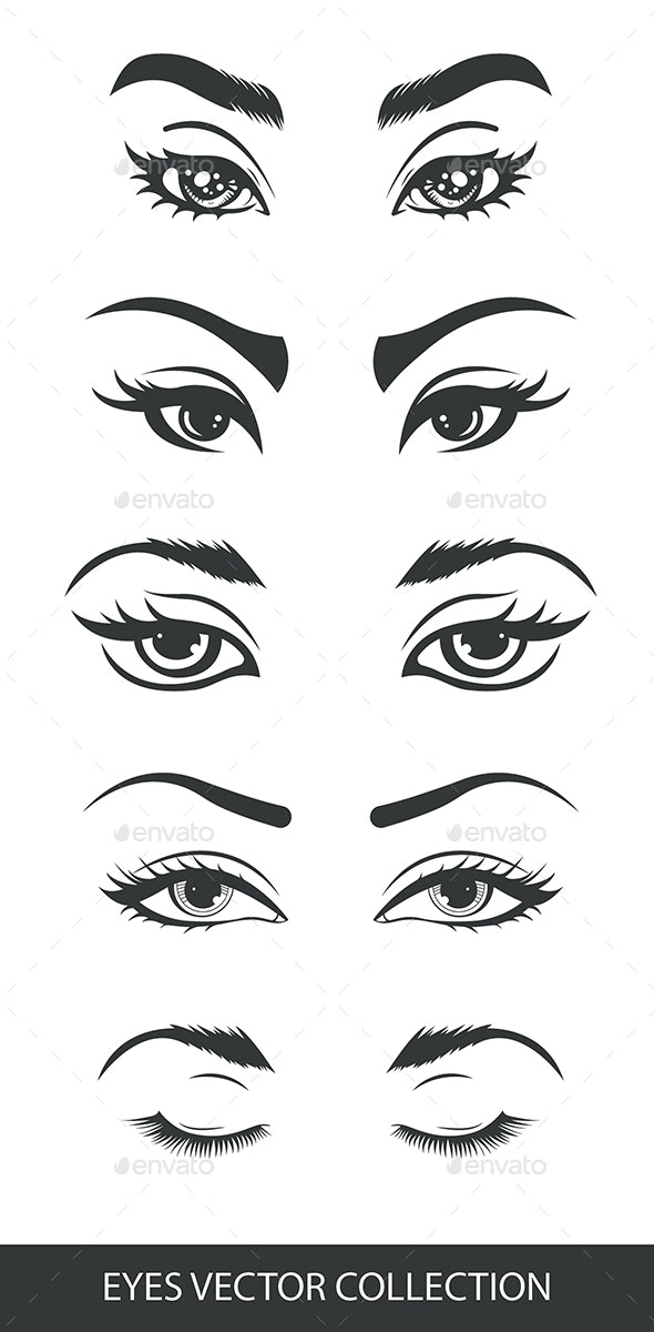 Black and White Girls Eyes Set - People Characters