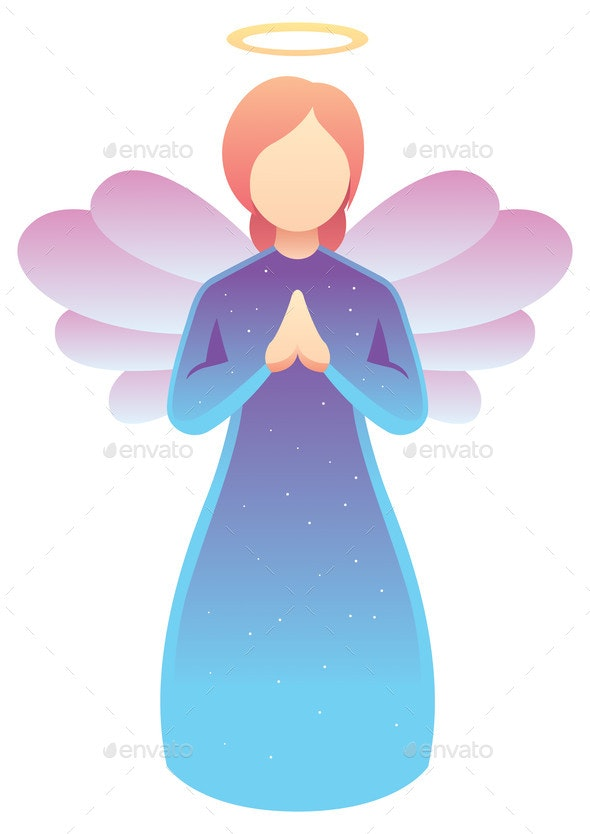 Angel Praying on White - Miscellaneous Vectors
