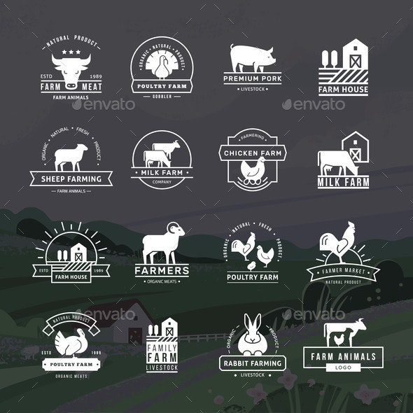 Collection of Vector Emblems for Farmers - Animals Characters