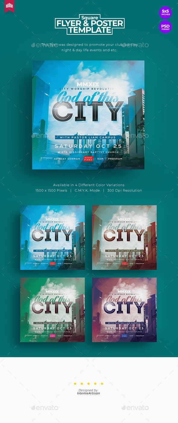 God Of This City - Square Church Flyer - Church Flyers
